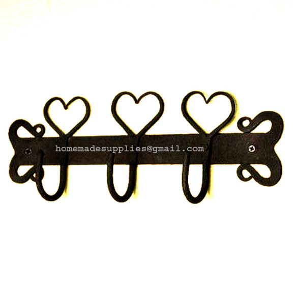 HAND FORGED IRON TRIPLE HEART COAT RACK