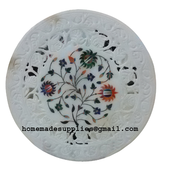 White Marble Inlayed Plate
